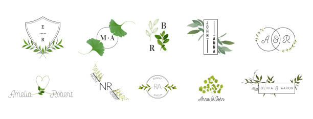 wedding monogram logos collection, watercolor modern rustic and floral templates for invitation cards, save the date, elegant identity for restaurant, boutique, cafe in vector - butik stock illustrations