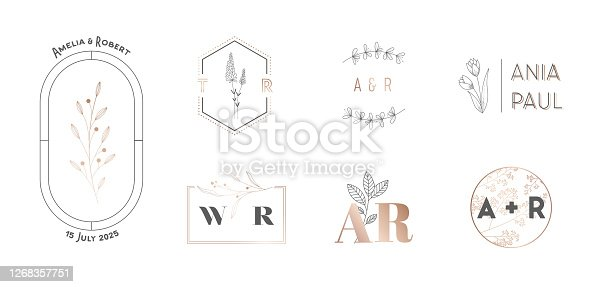 Wedding Monogram Logos Collection with Hand Drawn Flowers. Modern Minimalistic Floral Templates for Invitation Cards, Save the Date, Elegant Identity for Restaurant, Boutique, Cafe Vector Illustration