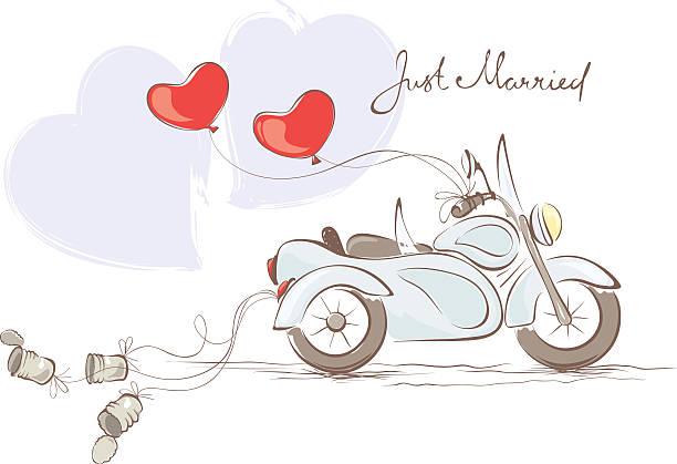 hochzeit motorrad mit beiwagen - hochzeitspaare stock-grafiken, -clipart, -cartoons und -symbole