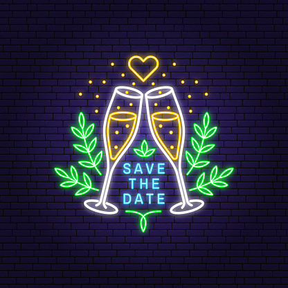 Wedding neon invitation card template. Vector. Thin line geometric badge. Outline icon for save the date invitation card design. Modern neon minimalist design with champagne glass