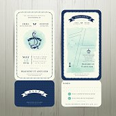 Wedding on the beach watercolour nautical theme with rsvp card set on wood background