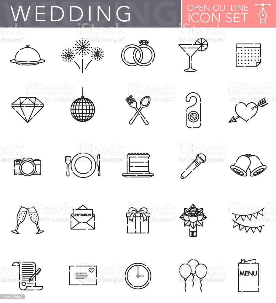 Wedding Open Outline Icon Set - arte vettoriale royalty-free di Amore