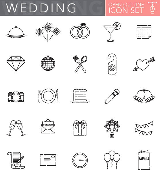 illustrazioni stock, clip art, cartoni animati e icone di tendenza di wedding open outline icon set - matrimonio