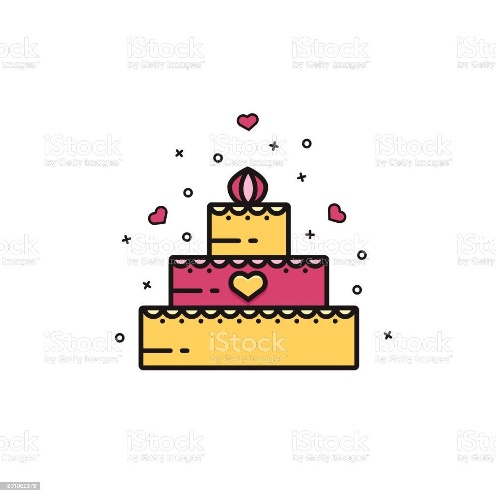 Wedding Or Birthday Cake Icon Sign Symbol Emblem Image Pictogram