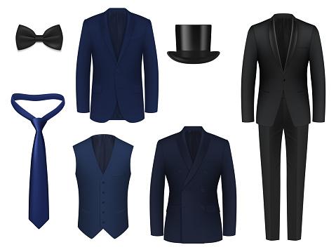 Wedding or dinner mens suit realistic mockup