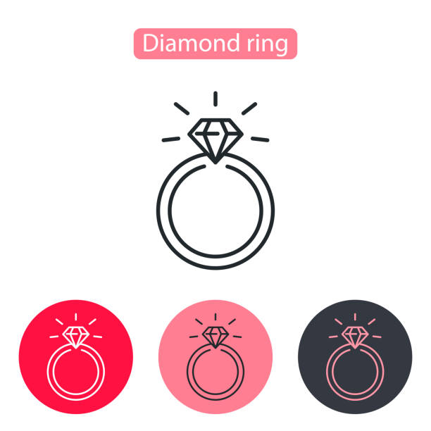 Wedding or engagement ring with diamond. vector art illustration