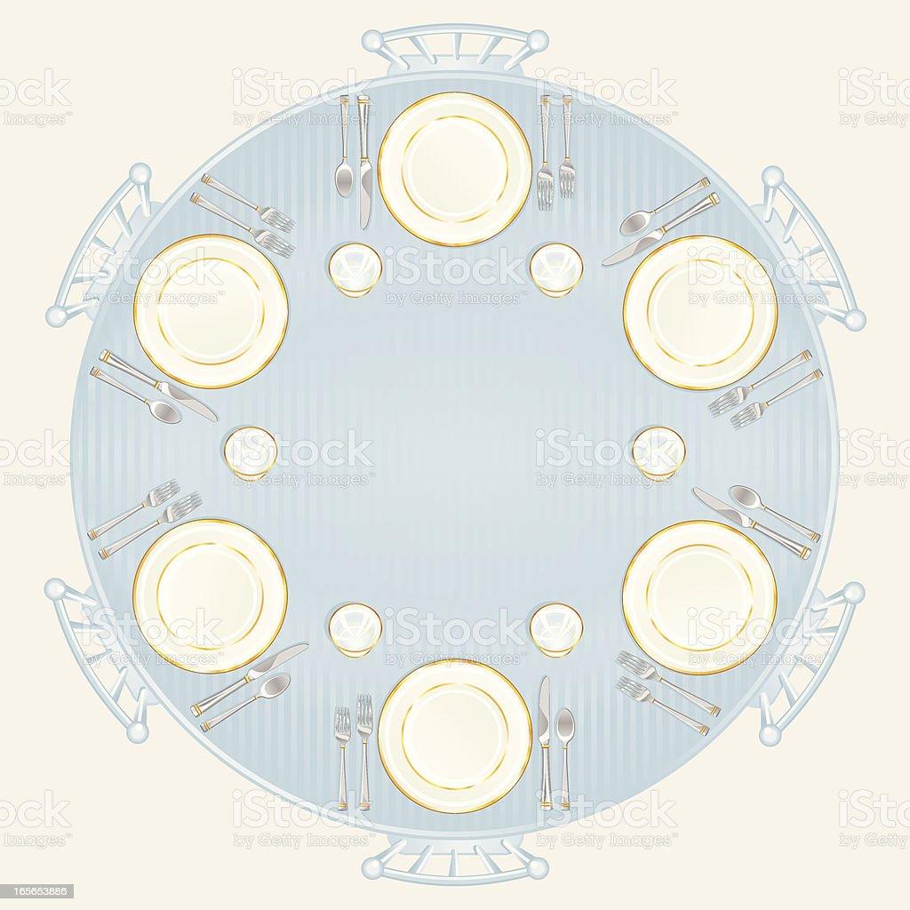Wedding or Formal Table Setting vector art illustration