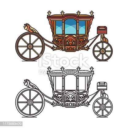 Wedding or marriage carriage, retro royal chariot or medieval brougham. Coach of D. Maria Ana of Austria. Cartoon fairytale cab icon. Stagecoach or waggon, dormeuse, old transport for princess