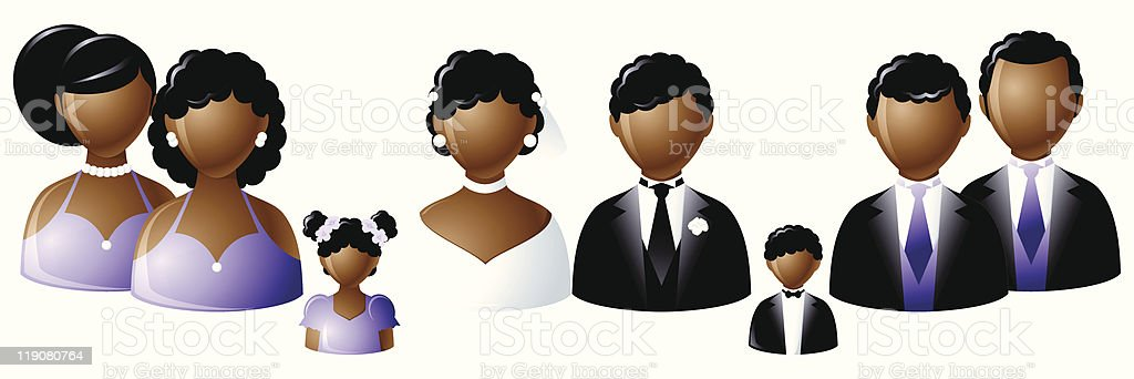 Wedding party icons - African vector art illustration