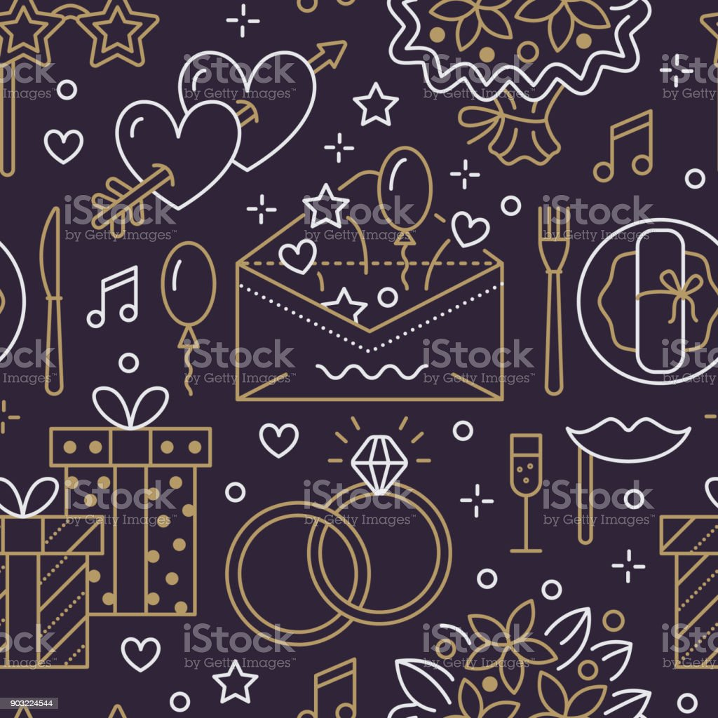 Wedding party seamless pattern, flat line illustration. Vector icons event agency rings, balloons, gifts, invitation, flowers. Dark, gold repeated background. Valentine day romantic date organization vector art illustration