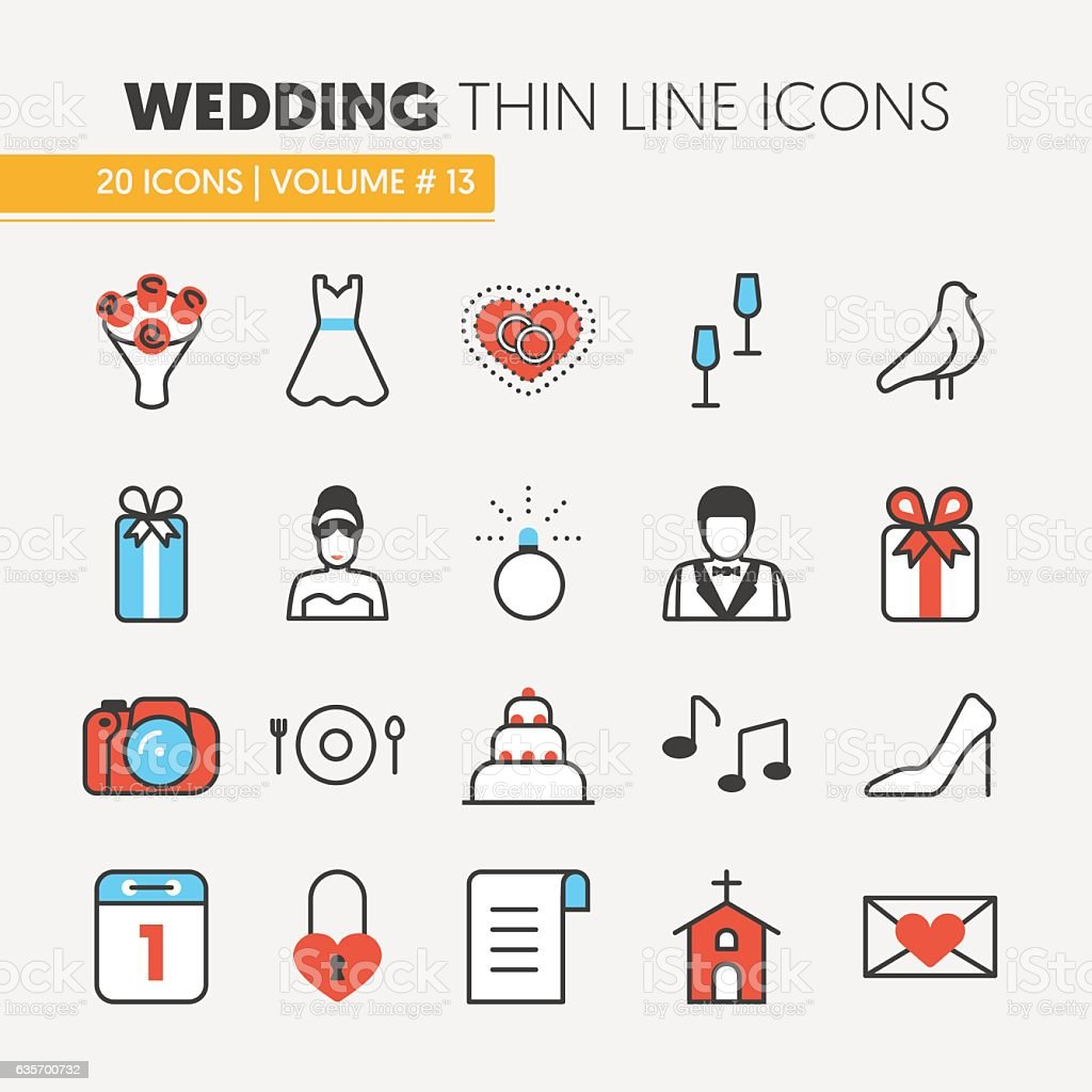 Wedding Party Thin Line Icons Set royalty-free wedding party thin line icons set stock vector art & more images of art