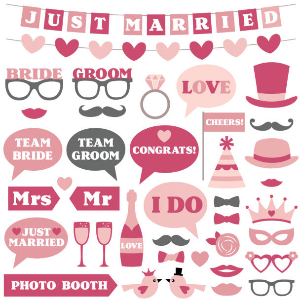 wedding photo booth props - photo booth stock illustrations, clip art, cartoons, & icons