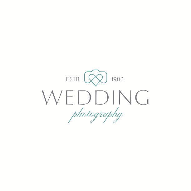 wedding photography logo - wedding photographer stock illustrations