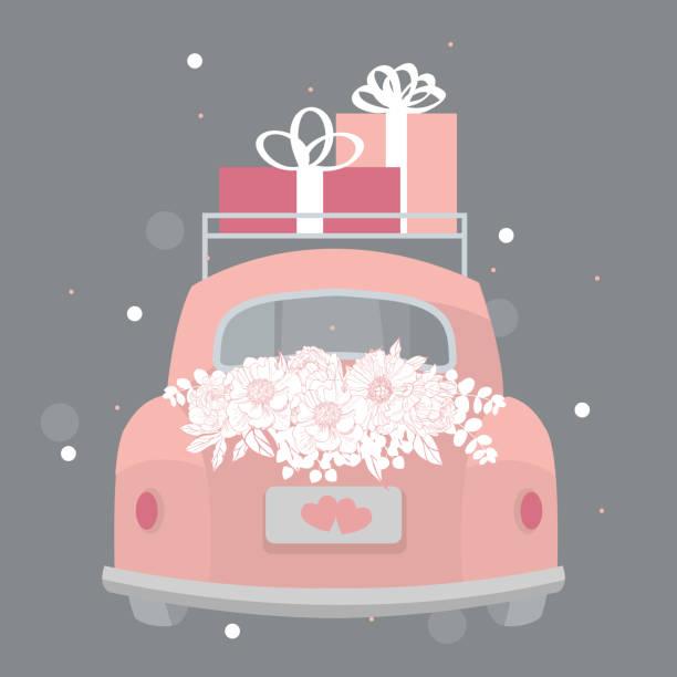 Wedding pink retro car. Vector illustration. Wedding pink retro car with flowers and gifts. Vector illustration. car love stock illustrations