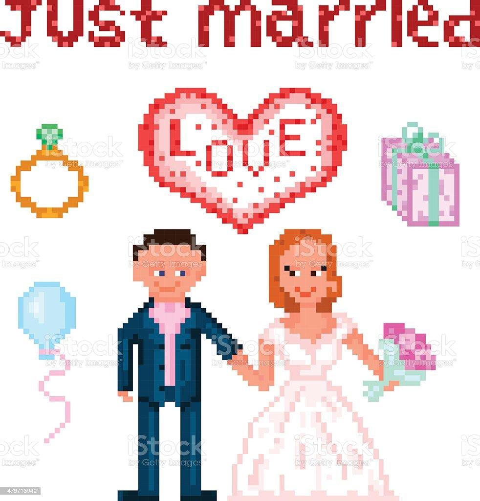 Wedding Pixelart vector art illustration