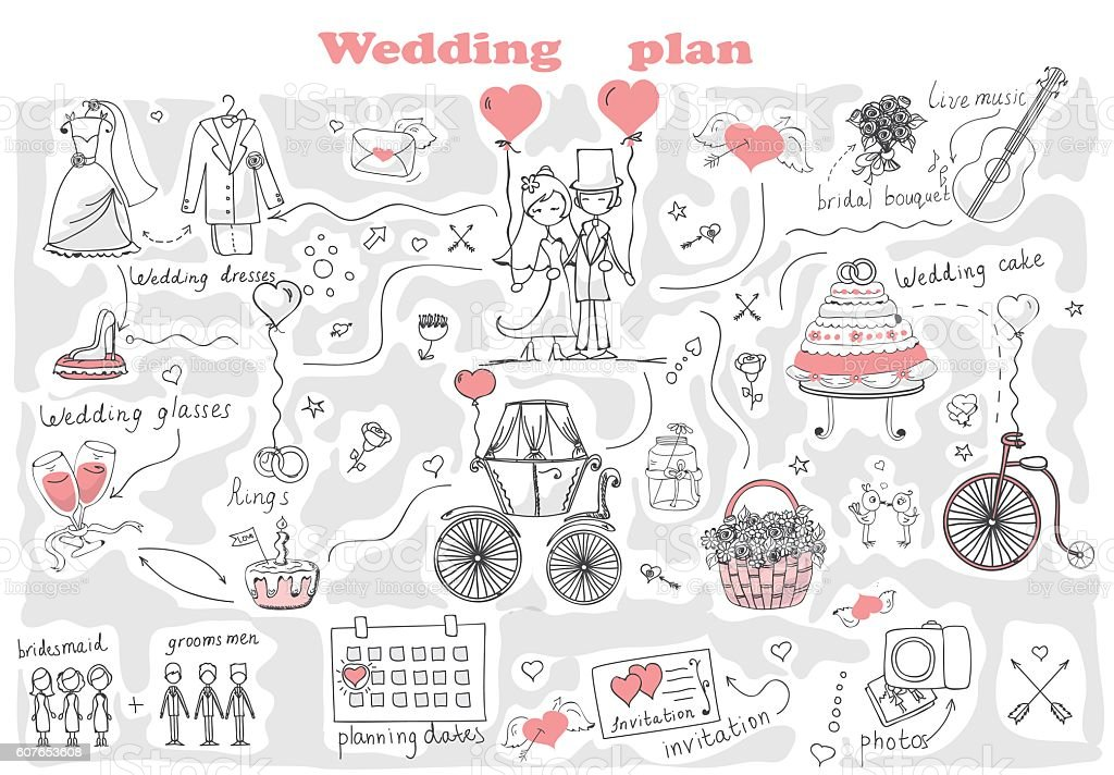 Wedding plan vector art illustration