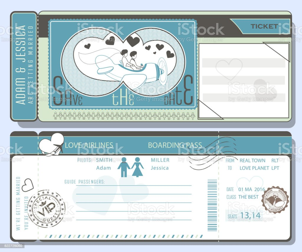 Wedding plane ticket with stamps.