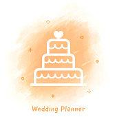 Vector wedding cake sketch over watercolor background.
