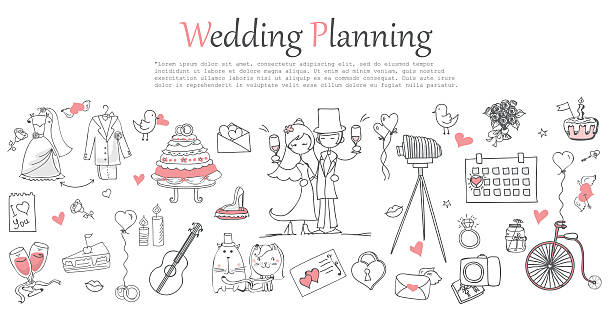 Wedding planning Doodle line design of web banner template with outline cartoon wedding icons. bridegroom stock illustrations