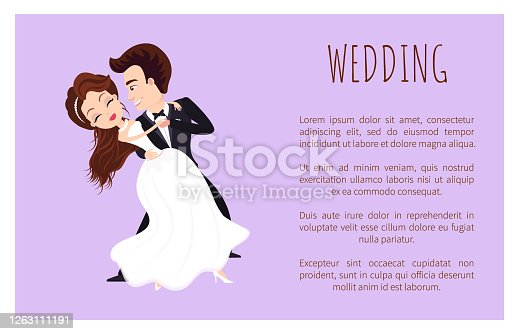 istock Wedding Poster Newlywed Couple Dancing First Dance 1263111191