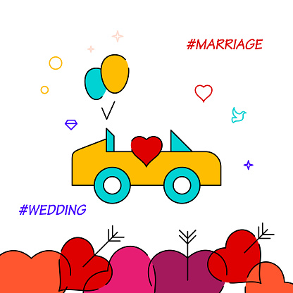 Wedding procession filled line icon, simple illustration