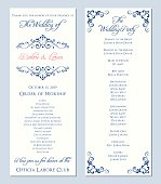 Wedding program template. Vector illustration.