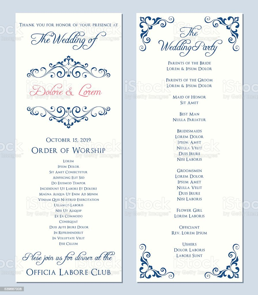Wedding Program Template vector art illustration