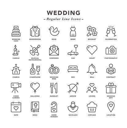 Wedding - Regular Line Icons