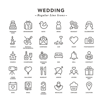 Wedding - Regular Line Icons - Vector EPS 10 File, Pixel Perfect 30 Icons.