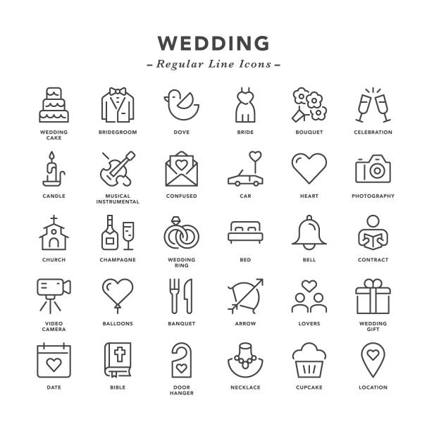 Wedding - Regular Line Icons Wedding - Regular Line Icons - Vector EPS 10 File, Pixel Perfect 30 Icons. bunch stock illustrations