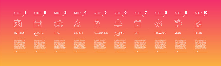 Wedding Related Infographic Design Template with Icons and 10 Options or Steps for Process diagram, Presentations, Workflow Layout, Banner, Flowchart, Infographic.