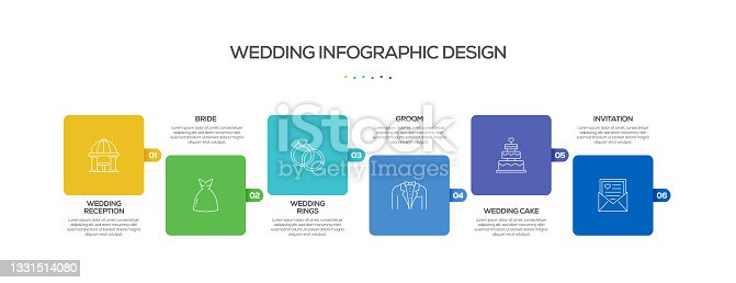 istock Wedding Related Process Infographic Template. Process Timeline Chart. Workflow Layout with Linear Icons 1331514080