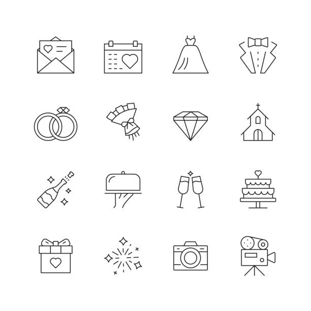 illustrazioni stock, clip art, cartoni animati e icone di tendenza di wedding related - set of thin line vector icons - matrimonio