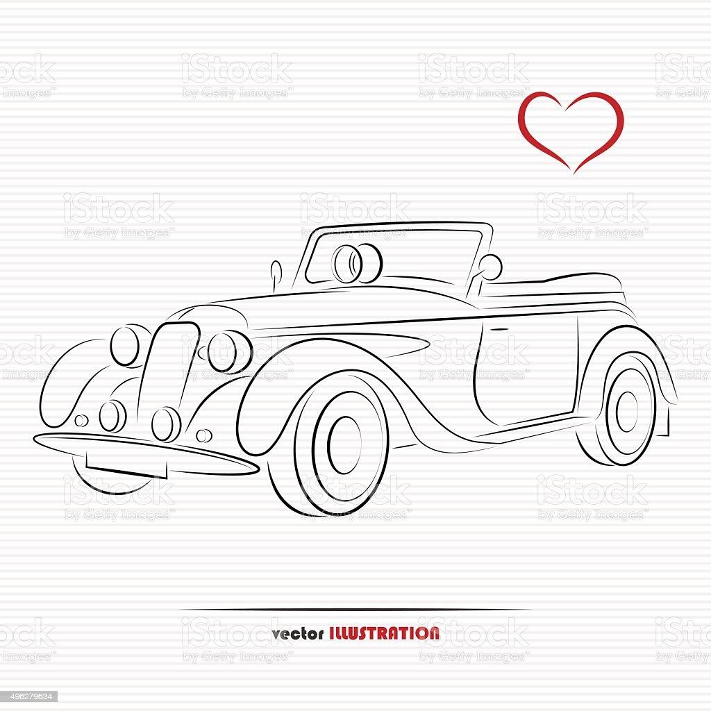 Wedding retro car vector art illustration