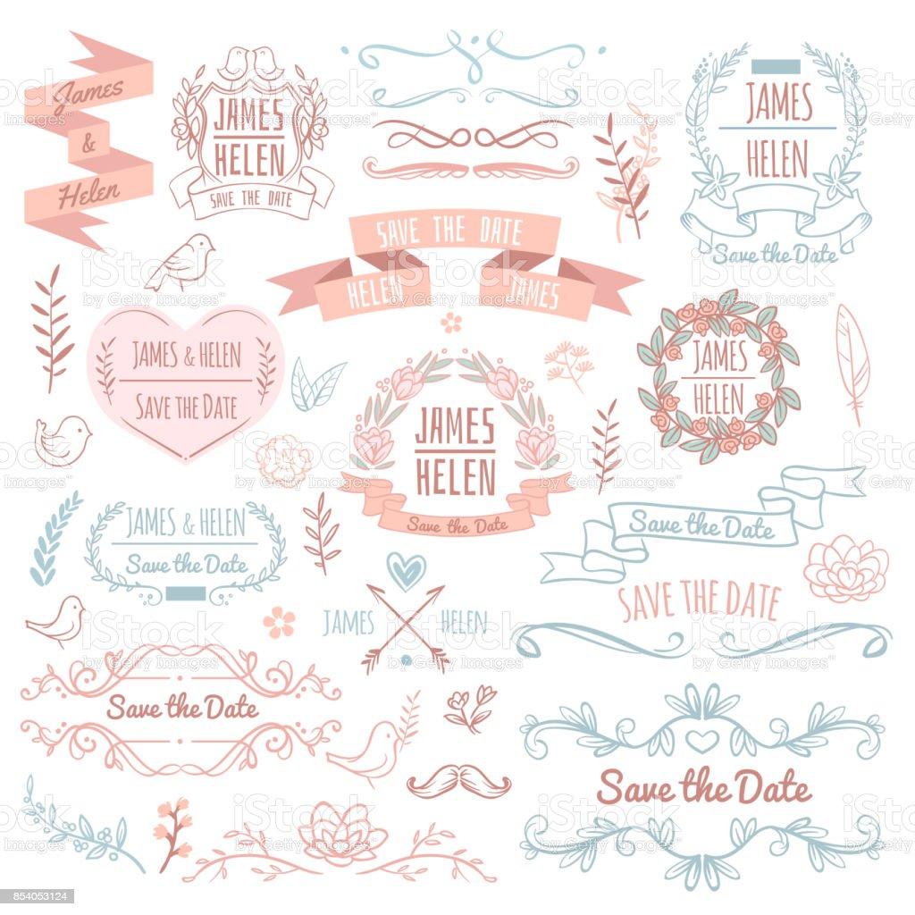 Wedding Retro Vector Elements For Invitation Card Rustic
