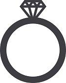 Wedding ring icon, modern minimal flat design style, vector illustration