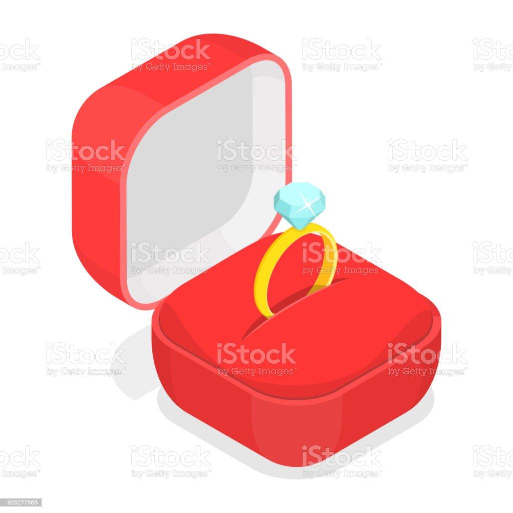 Anillo de bodas en el vector isométrica de caja. - ilustración de arte vectorial