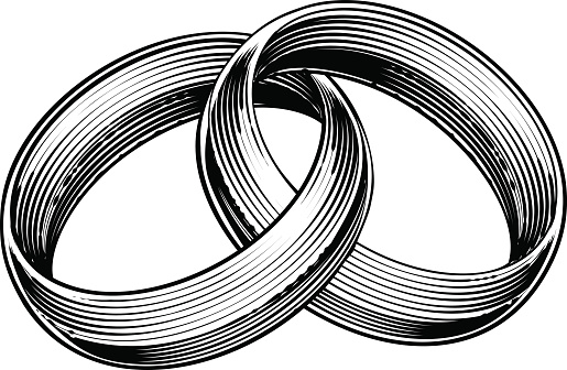Wedding Rings Bands Engraved Etching Woodcut Style