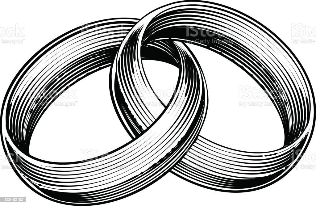 Bandes de bagues de mariage gravés gravure gravure sur bois Style - Illustration vectorielle