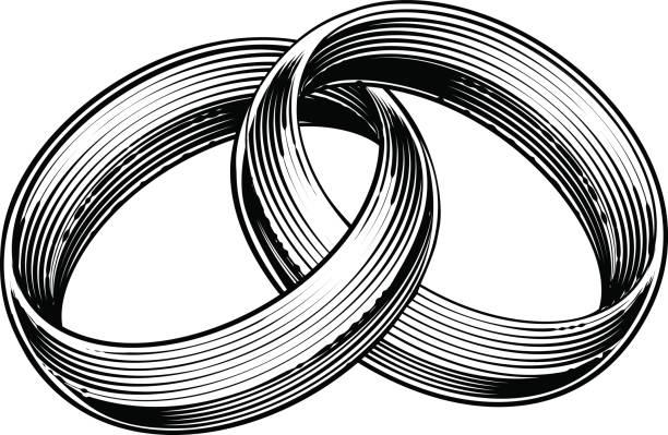 trauringe bands graviert radierung-holzschnitt-stil - trauring stock-grafiken, -clipart, -cartoons und -symbole