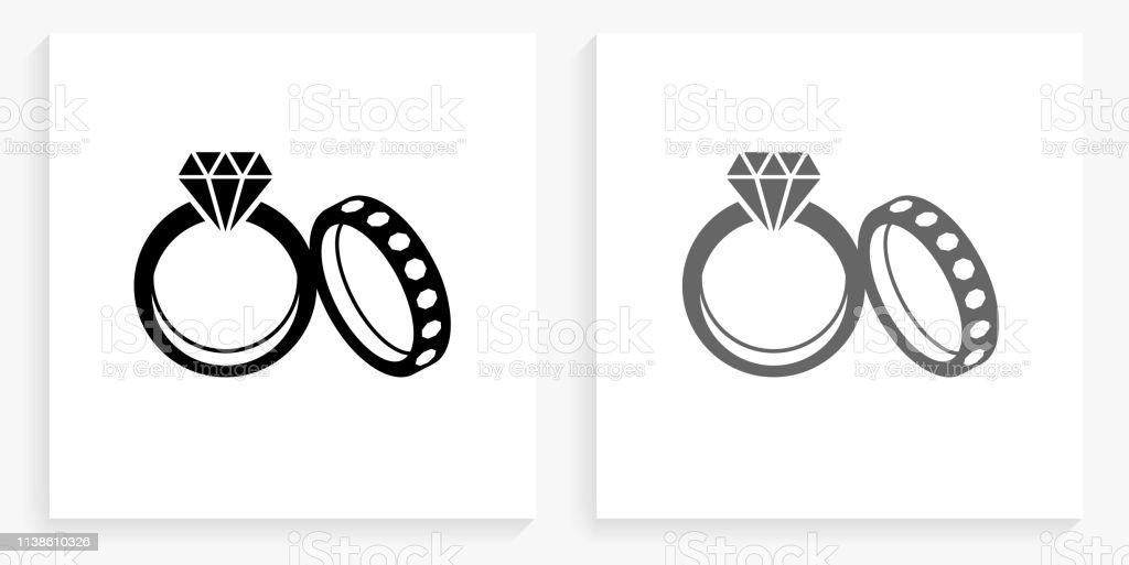 Anneaux De Mariage Noir Et Blanc Carré Icône Vecteurs Libres