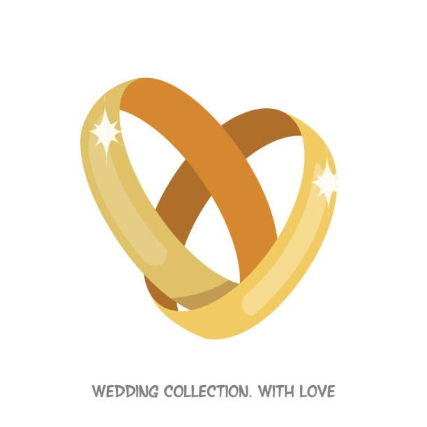 Wedding Rings Heart Vector Art Illustration