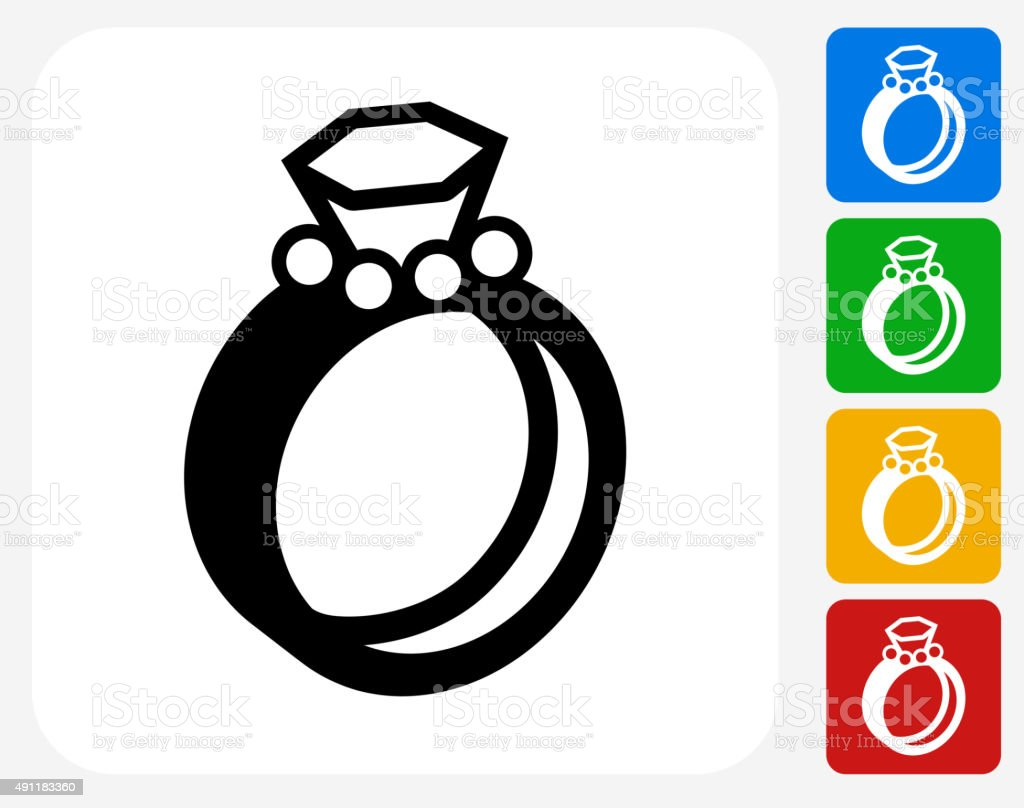 Wedding Rings Icon Flat Graphic Design Stock Vector Art More