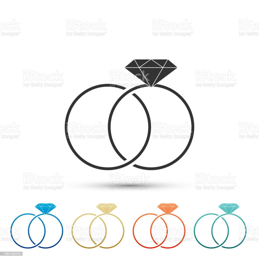 Wedding Rings Icon Isolated On White Background Bride And Groom