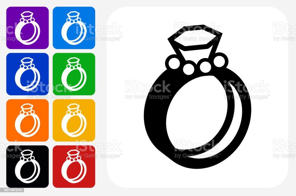Hochzeit Ringe Symbol Square Buttonset Stock Vektor Art Und Mehr
