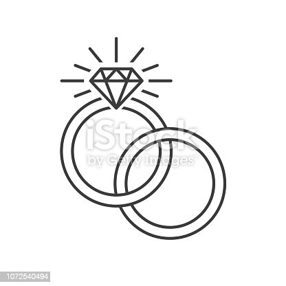 Outlined vector illustration of two engagement rings one inside each other on a white background