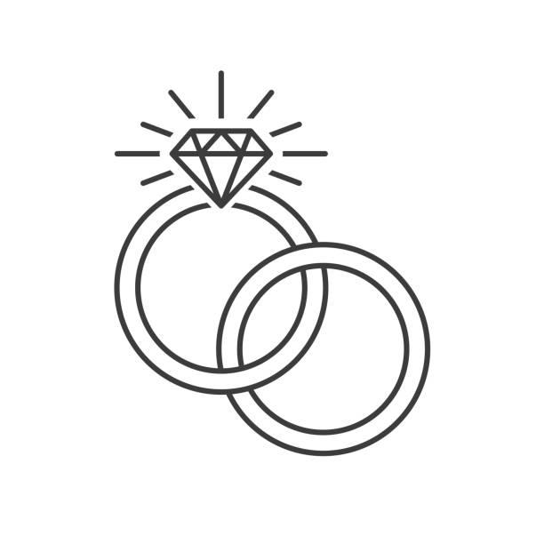 trauringe-symbol - trauring stock-grafiken, -clipart, -cartoons und -symbole