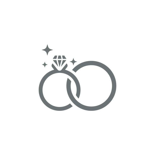 illustrations, cliparts, dessins animés et icônes de icône de bagues de mariage - bague