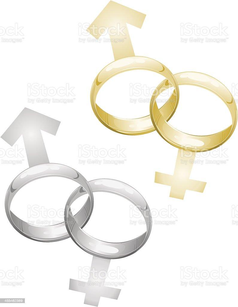 Hochzeitsringe Verzahnt Mit Mannliche Und Weibliche Symbole Stock