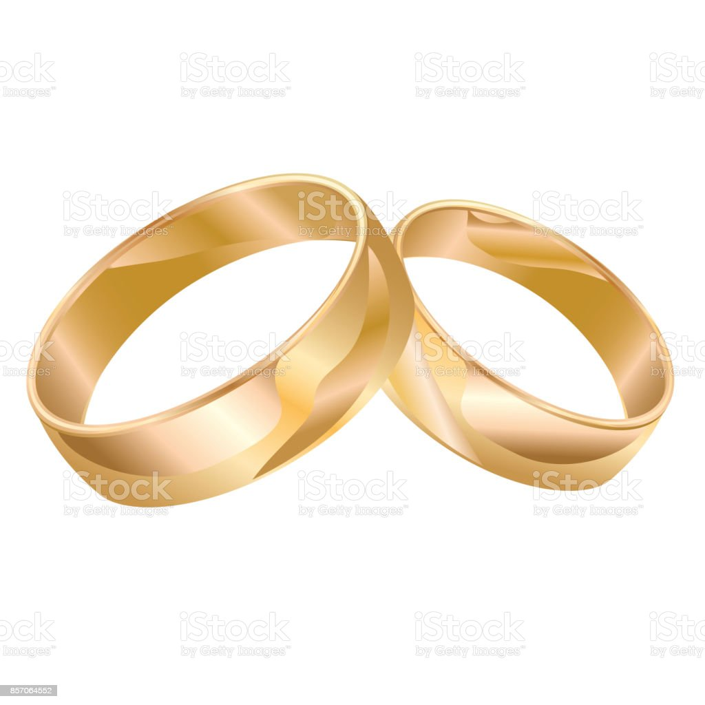 Wedding rings isolated over white vector art illustration